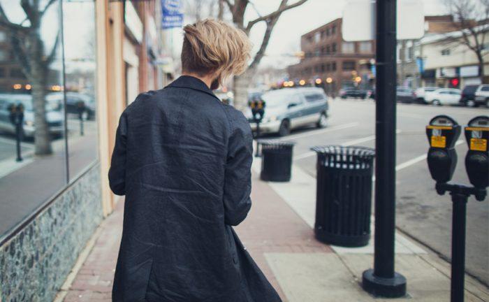 a man walking away