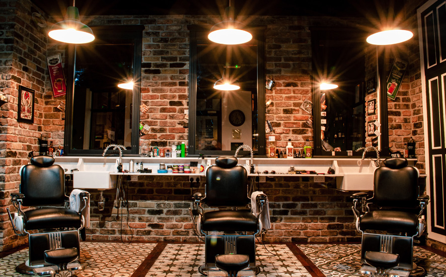 Industrial hair salon interior design